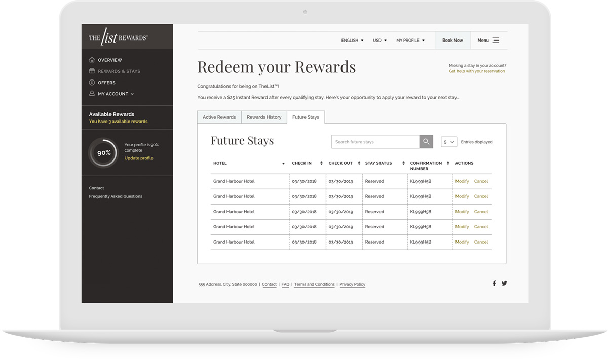 TheList Rewards Redeem Rewards Page
